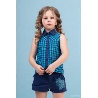 Комплект: блузка, шорти сині р.134
