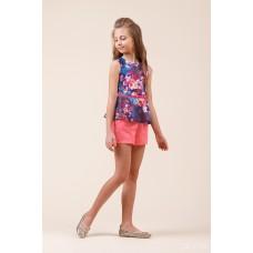 Комплект: блузка з баскою, шорти квітковий