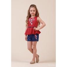 Комплект: блузка з баскою, шорти червоно-синій