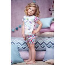 Піжама для дівчинки (принт квіти, шорти короткі)