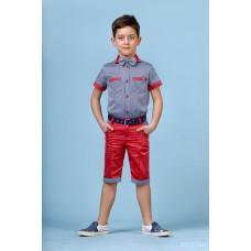 Костюм літній червоні шорти  (сорочка, метелик, шорти)