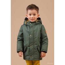 Куртка демісезонна зелена (принт ялинка)