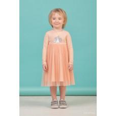 Сукня з довгим рукавом персикова